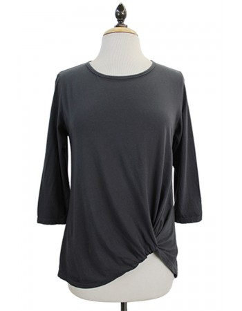 3/4 Sleeve Twist Front Tee