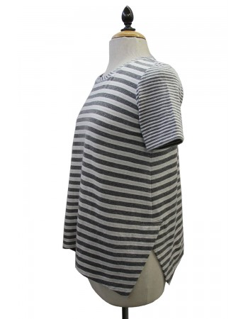 Mix Stripe Side Vent Short Sleeve Tee