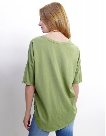 Cotton Jersey V-Neck Elbow Sleeve