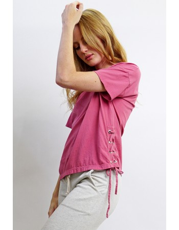 Cotton Jersey Side Lace Up Tee