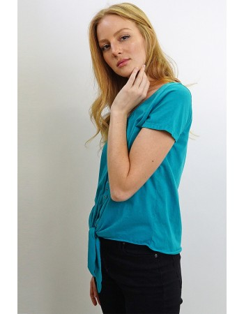 Cotton Jersey Eyelet Tie Front Top