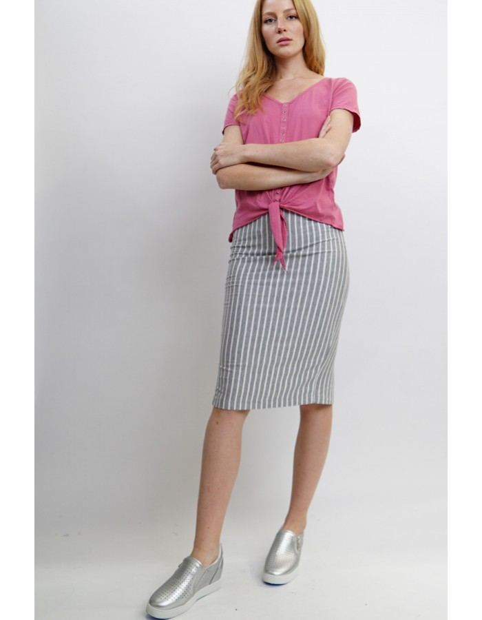 Fleece Stripe Pencil Skirt