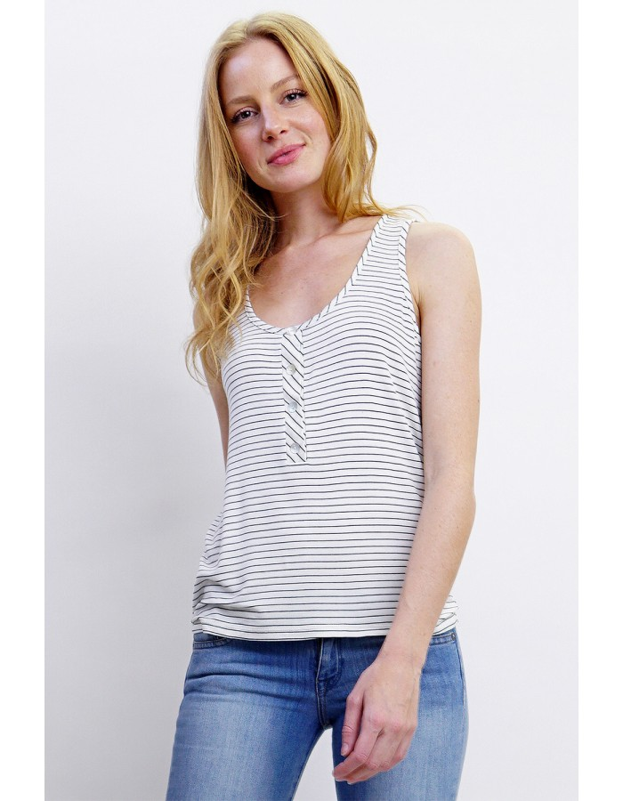 Soft Stripe Knit Henley Tank