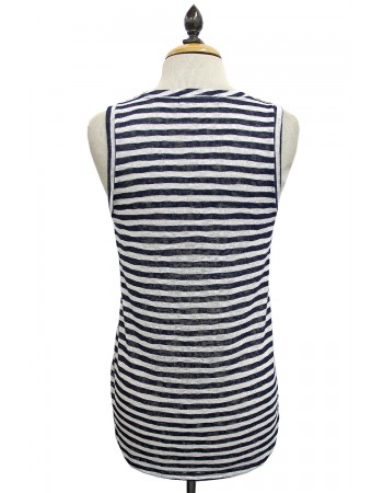 Slub Stripe V-Neck Pocket Tank