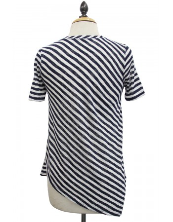 Slub Stripe V-Neck Asymmetric Hem Tee