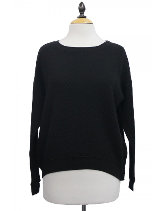 Long Sleeve Dolman Snap Button Slit Tee