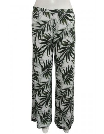 Leaf Print Wide Leg Pants