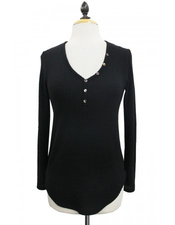 Brushed Waffle Button Henley