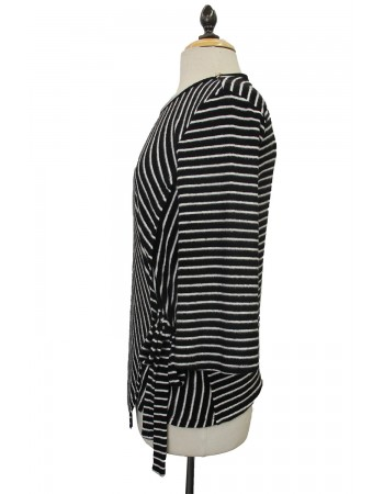 Soft Stripe Fleece Side Tie