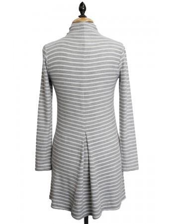 Fleece Stripe Funnel Neck Back Pleat
