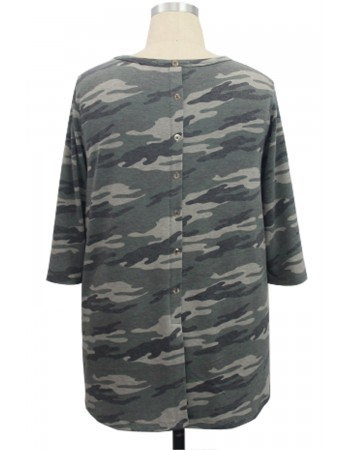 Camo French Terry Button Back