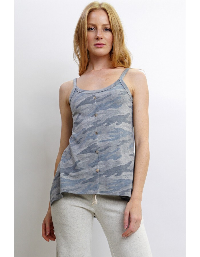 Camo French Terry Front Button Camisole