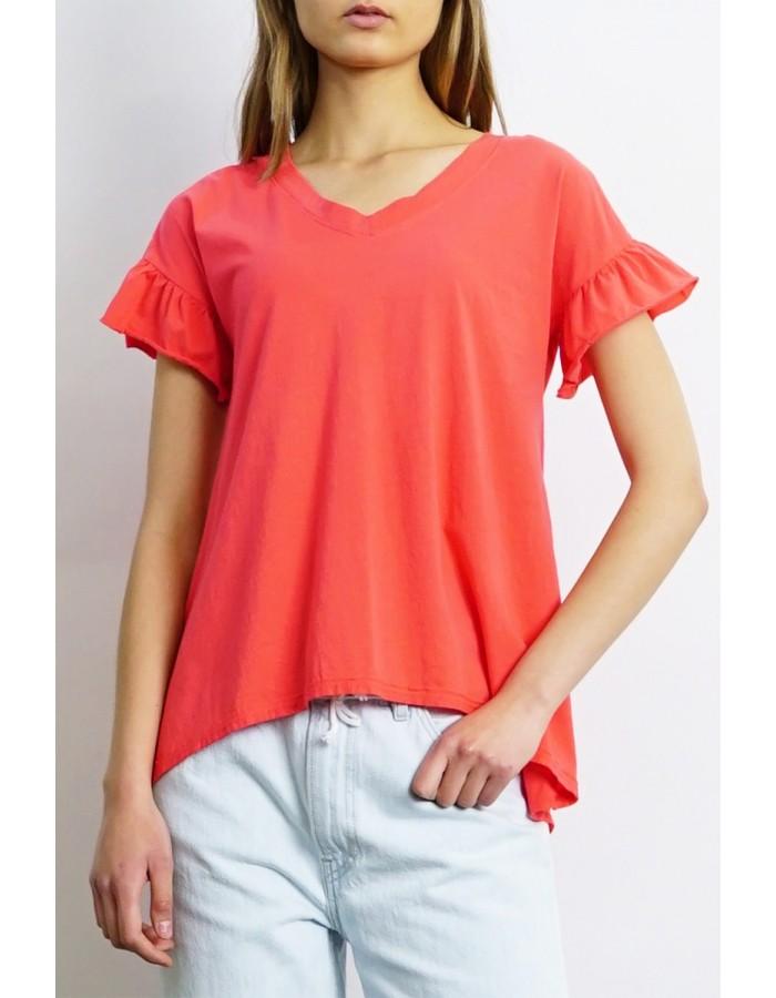 Cotton Jersey Ruffle Sleeve V-Neck