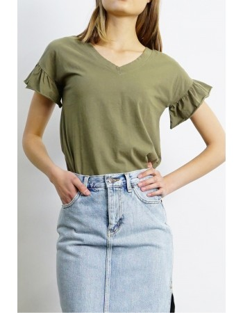Cotton Jersey Ruffle Sleeve V-Neck