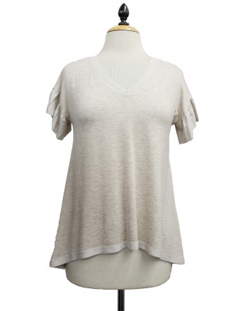 Lightweight French Terry Ruffle Sleeve V-Neck