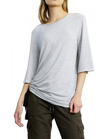 Lightweight French Terry Side Tie Flare Sleeve Top