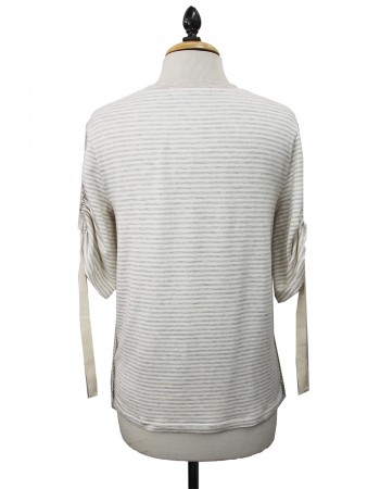 Stripe Cinched Sleeve Crew Neck