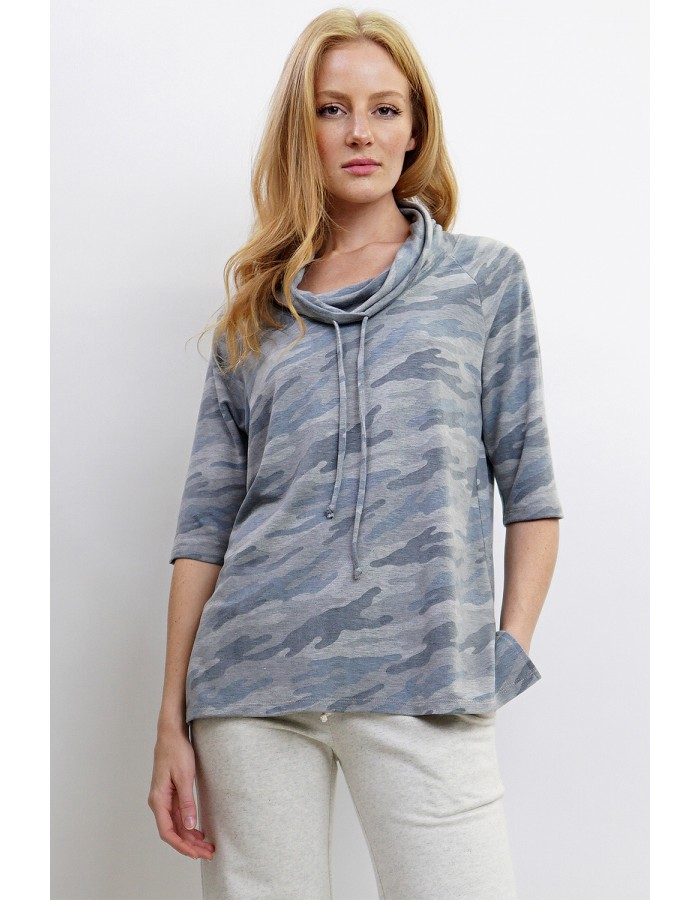 Camo French Terry Cowl Neck Drawstring
