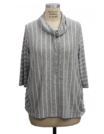 3/4 Sleeve Stripe Cowl Neck Ruched Side