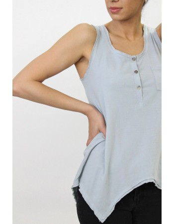 Cotton Jersey Henley Tank