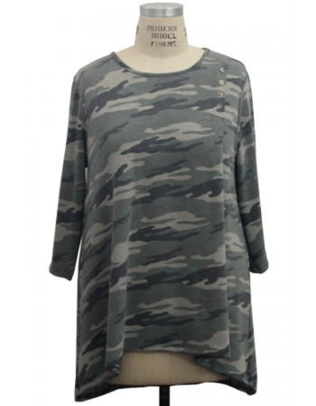 Camo French Terry Button Pleat Front