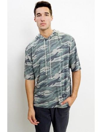 Camo French Terry Elbow Sleeve Hoodie
