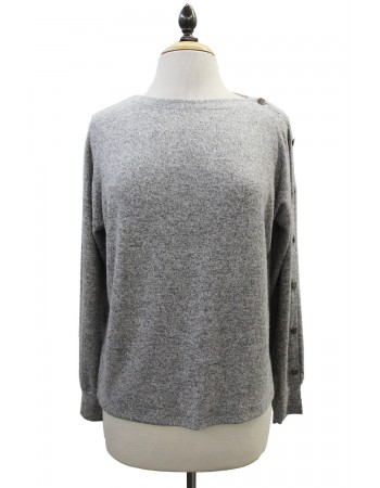 Brushed Cozy Button Boat Neck Long Sleeve