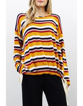 Retro Stripe Tie Hem Top