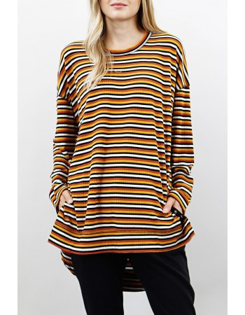 Retro Stripe Side Snap Pullover