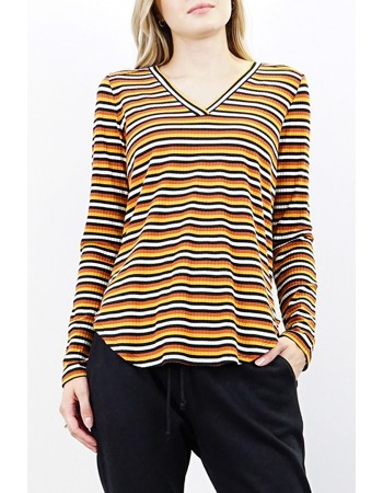 Multi Stripe V-Neck Top