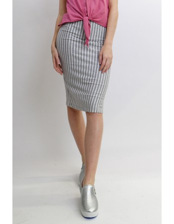 Fleece Stripe Pencil Skirt