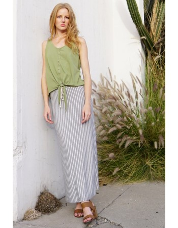 Fleece Stripe Maxi Skirt