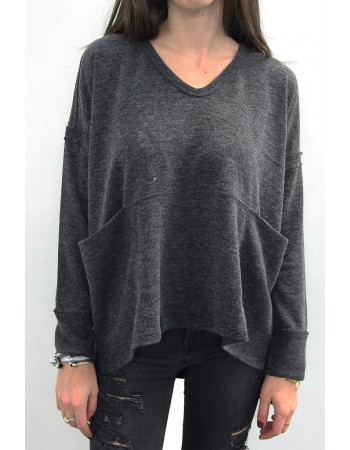 Sweater Knit Draped Pocket Dolman
