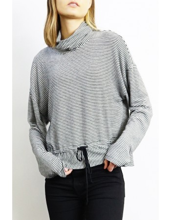 Soft Stripe Tie Front Top
