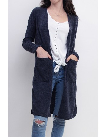 Mohair Side Slit Pocket Cardigan