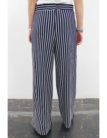 Fleece Stripe Wide Leg Pants