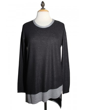 Asymmetric Hem Scoop Neck Long Sleeve