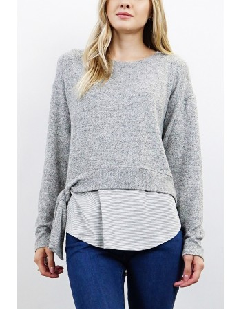 Twofer Side Tie Long Sleeve