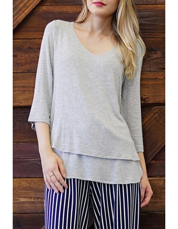 Lightweight Knit Double Layer Top