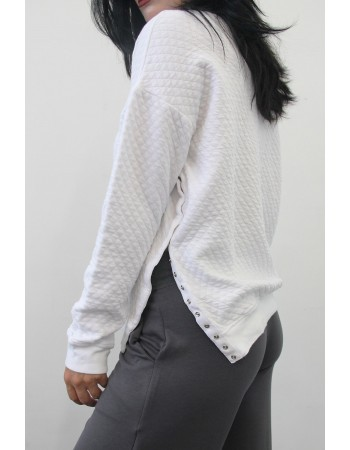 Quilted Dolman Snap Button Slit Tee