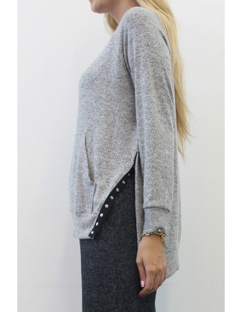Cozy Knit Raglan Pocket Snaps