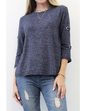Cozy Knit Grommet 3/4 Sleeve Top