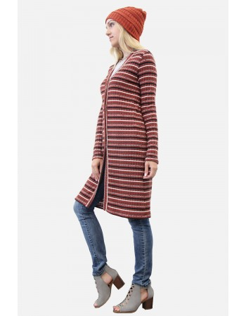 Brushed Multi Stripe Basic Cardigan