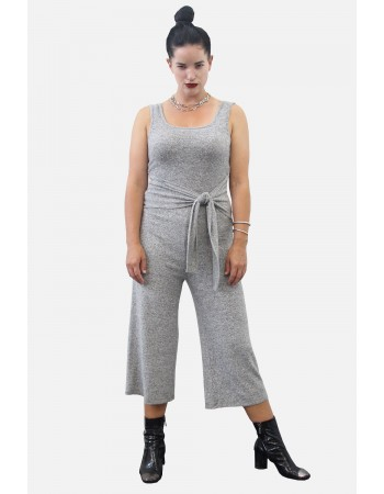 Cozy Knit Tie Cropped Pant Jumpsuit