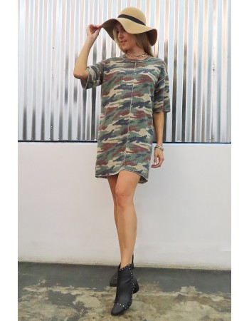 Brushed Camo Waffle Tee Dress