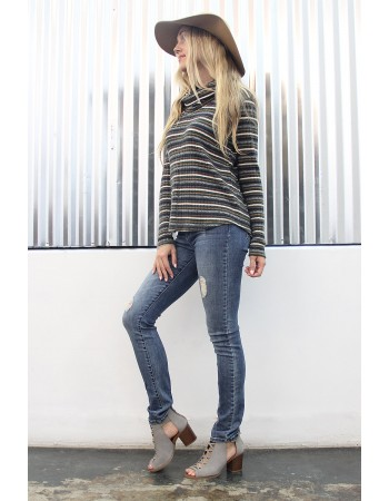 Brushed Multi Stripe Cowl Neck