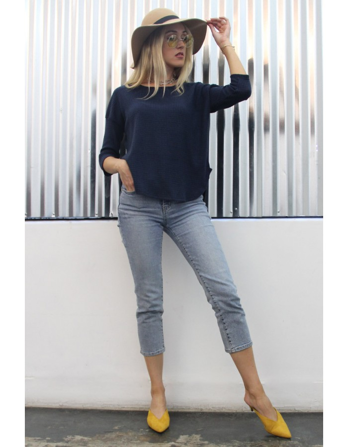 Brushed Waffle Dolman Scoop Neck Top