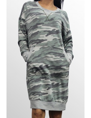Camo French Terry Kangaroo Pocket Dress