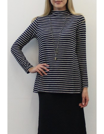 Fleece Stripe Funnel Neck Back Pleat
