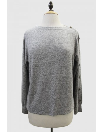 Cozy Knit Button Boat Neck Top